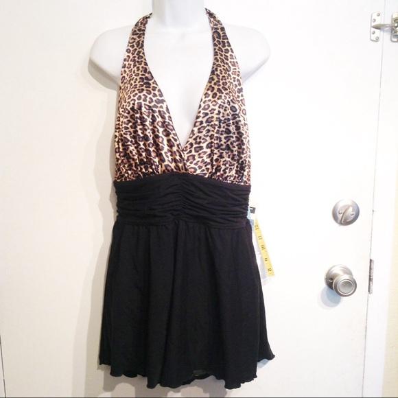 3f3ee7bc1b9eb NWT Plus Size Leopard Print Shaping Swimsuit Dress